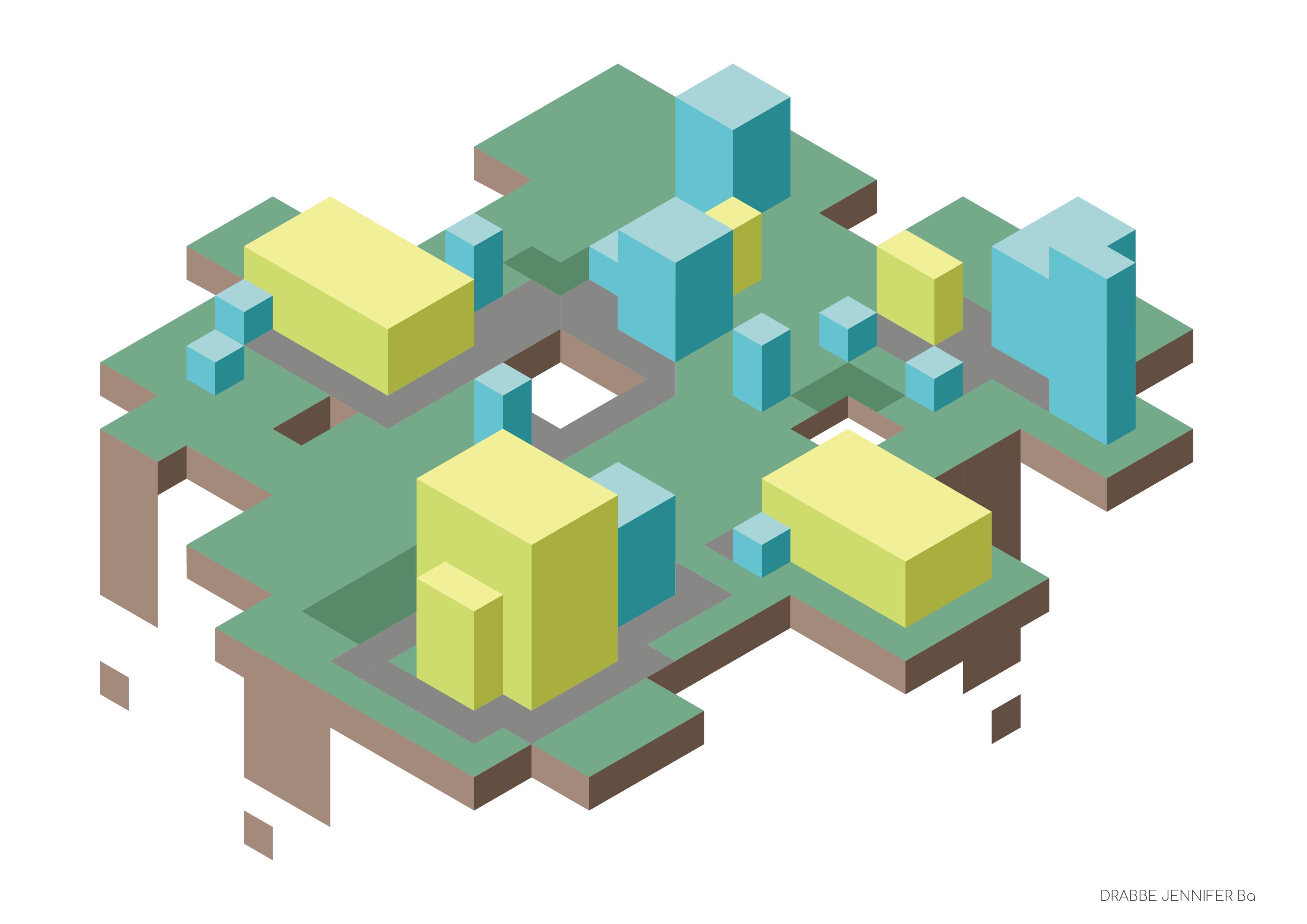 Een city op isometrisch grid