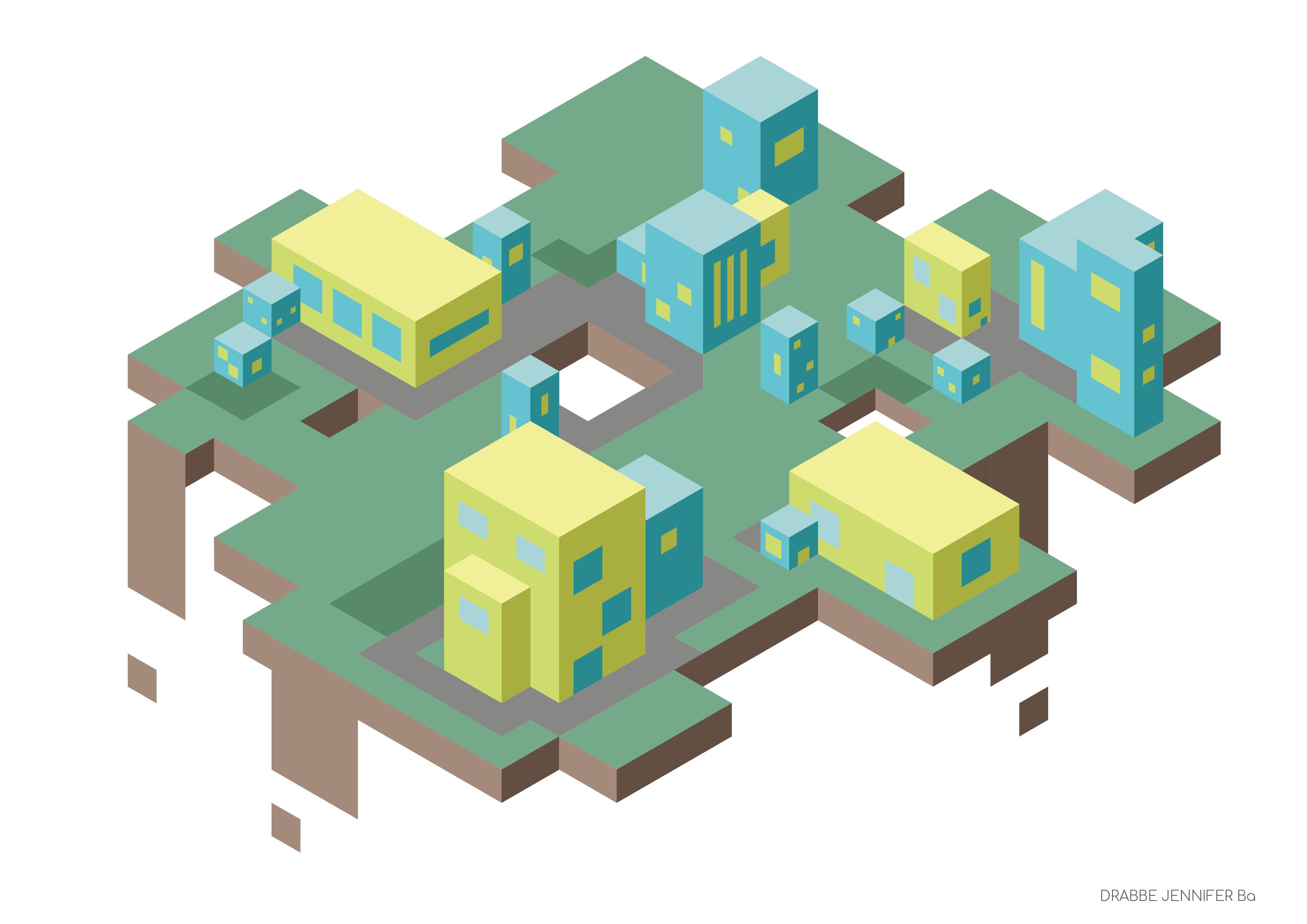 Een city op isometrisch grid, met ramen